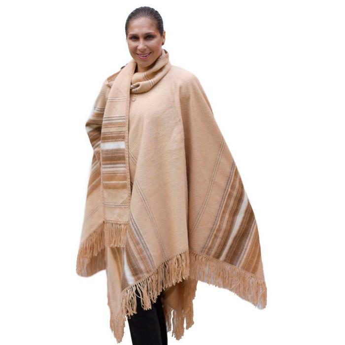 Ethnic Alpaca Wool Poncho & Scarf Beige One SZ (32-001-05390)