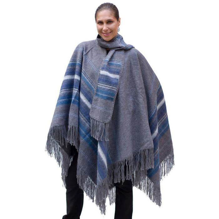 Ethnic Alpaca Wool Poncho Cloak with Scarf Gray One SZ (32-031-05396)