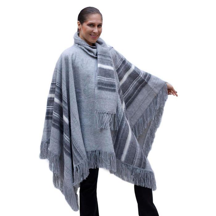Ethnic Alpaca Wool Poncho Cloak with Scarf Gray One SZ (32-068-05298)