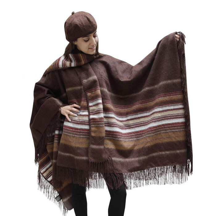Fringed Alpaca Wool Woven Poncho with Matching Scarf & Beret Brown One SZ (32N-014-302)