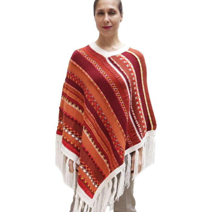 Womens Superfine Alpaca & Merino Wool Embroidered Poncho One Sz (32P-013-001)
