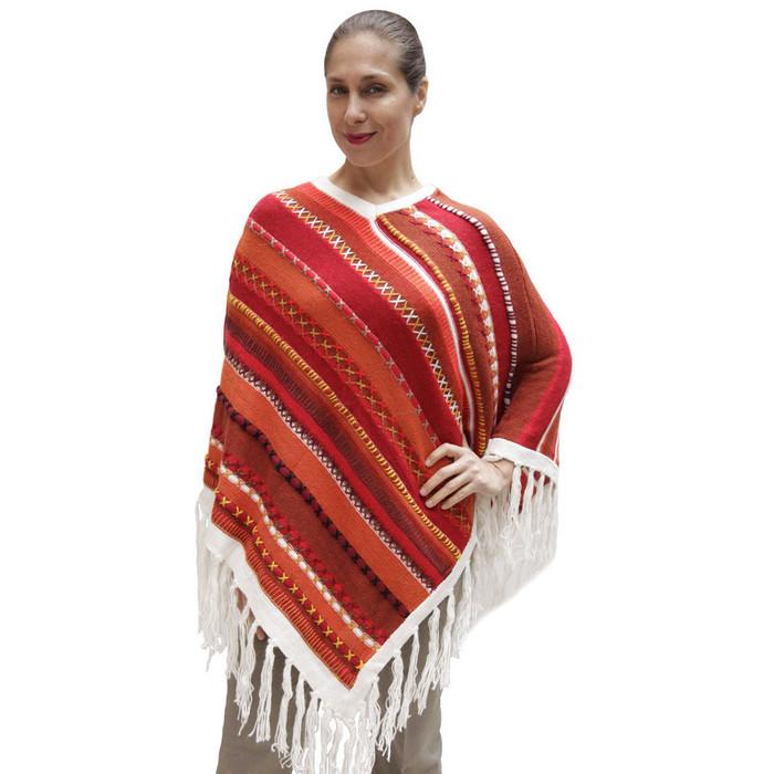 Womens Superfine Alpaca & Merino Wool Embroidered Poncho One Sz (32P-013-002)