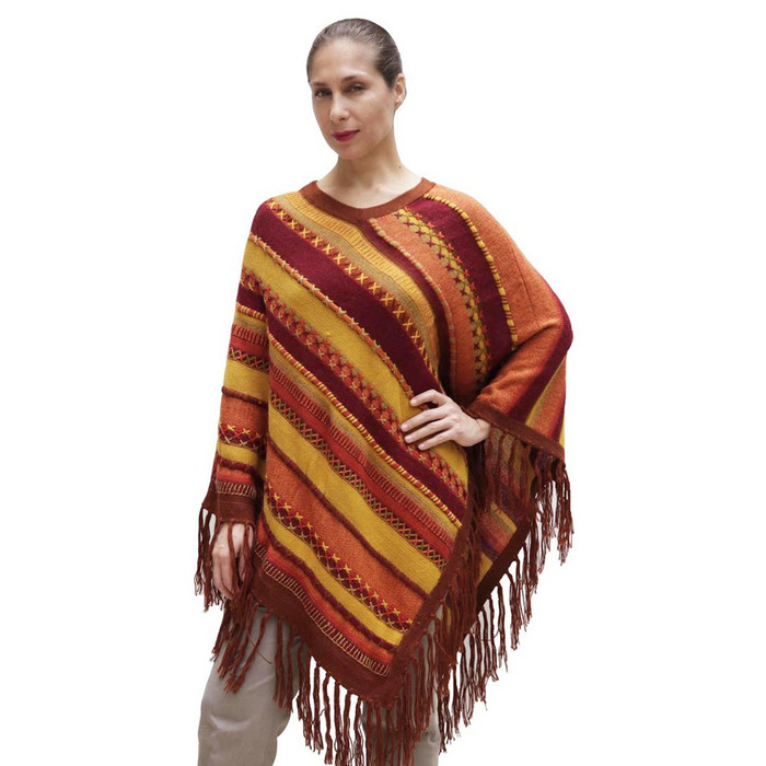 Womens Superfine Alpaca & Merino Wool Embroidered Poncho One Sz (32P-016-001)