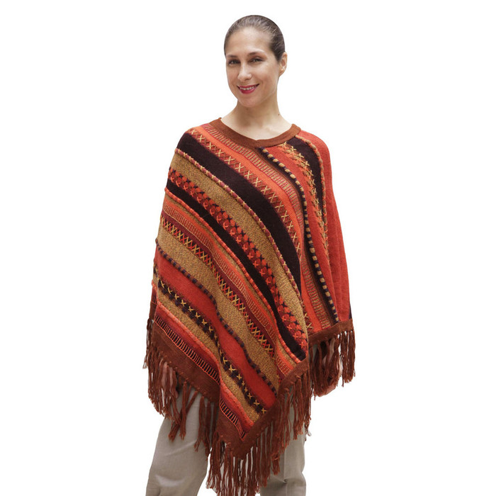 Womens Superfine Alpaca & Merino Wool Embroidered Poncho One Sz (32P-016-002)