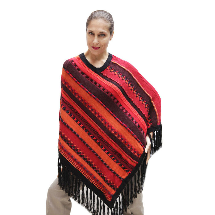 Womens Superfine Alpaca & Merino Wool Embroidered Poncho One Sz (32P-033-002)
