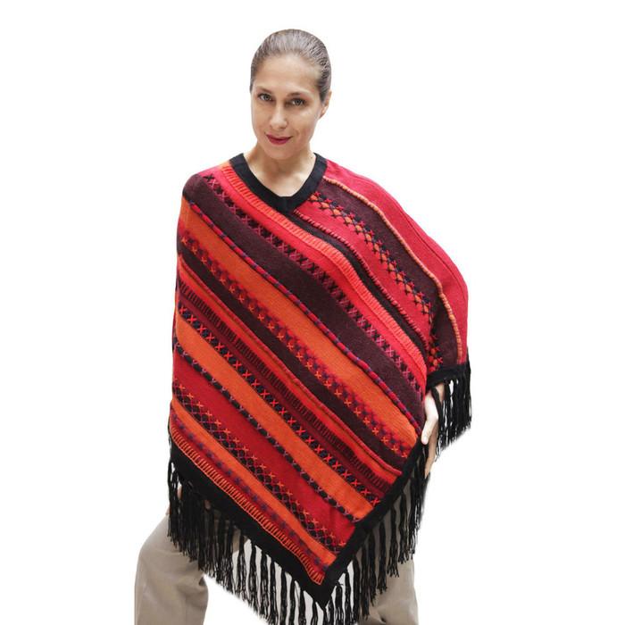 Womens Superfine Alpaca & Merino Wool Embroidered Poncho One Sz (32P-033-002)