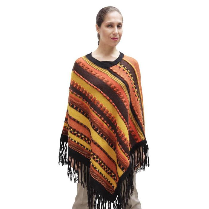 Womens Superfine Alpaca & Merino Wool Embroidered Poncho One Sz (32P-033-007)