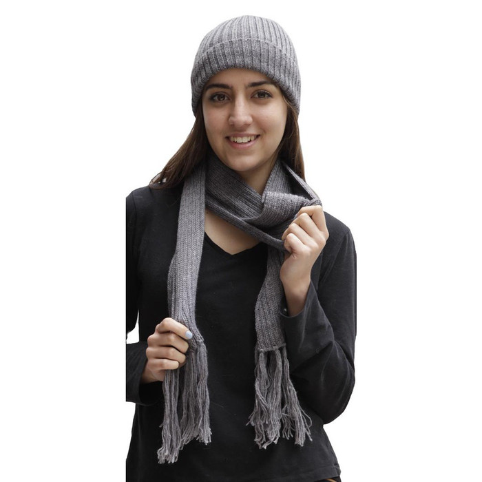 Superfine Alpaca Wool Beanie Hat & Scarf Set Gray (33-003-00896)