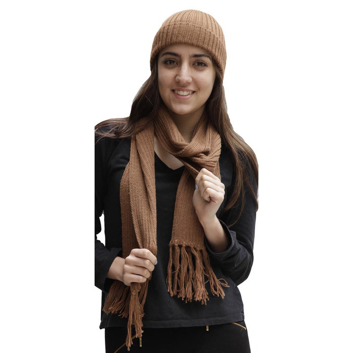 Superfine Alpaca Wool Beanie Hat & Scarf Set Camel (33-012-00694)