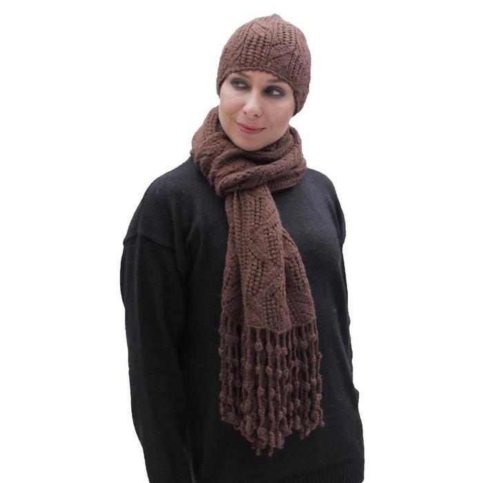 Superfine Hand Knitted Alpaca Wool Beanie Hat & Chunky Scarf Brown (33B-014-890)