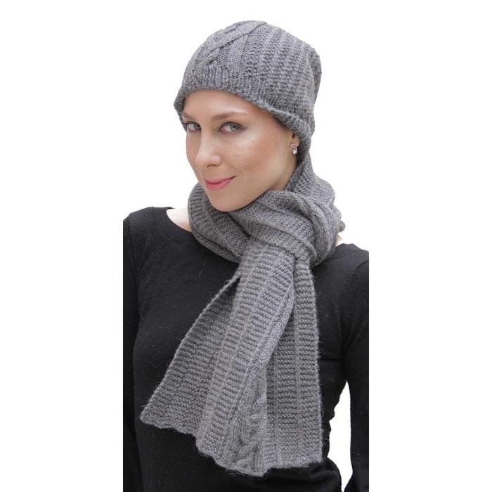 Superfine Hand Knitted Alpaca Wool Beanie Hat & Scarf Gray