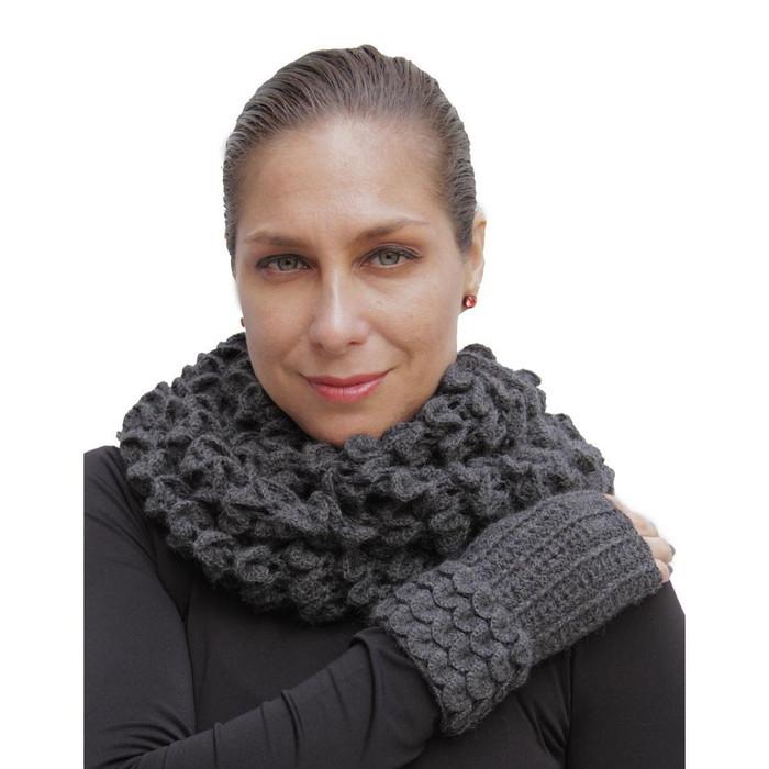 Superfine Alpaca Wool Handknitted Infinity Scarf & Gloves Charcoal (33H-040-407)