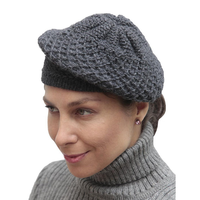 Alpaca Wool Knitted Beret Gray One SZ (65E-003-404)