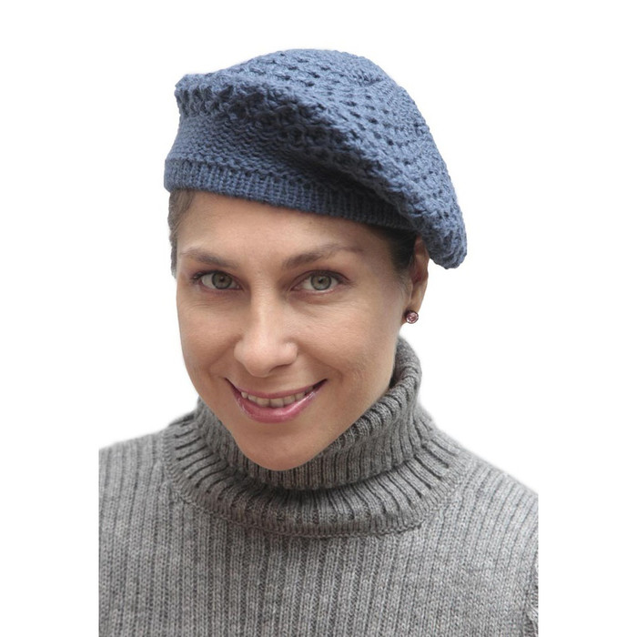 Alpaca Wool Knitted Beret Steel Blue One SZ (65E-036-753)