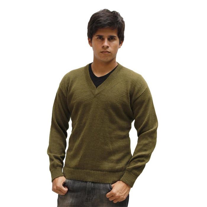 Mens Superfine Alpaca Wool Vneck Sweater SZ M Leaf Green (15K-064-638M)