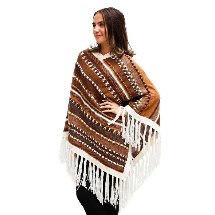 Womens Superfine Alpaca & Merino Wool Embroidered Poncho One Sz (32P-013-005)