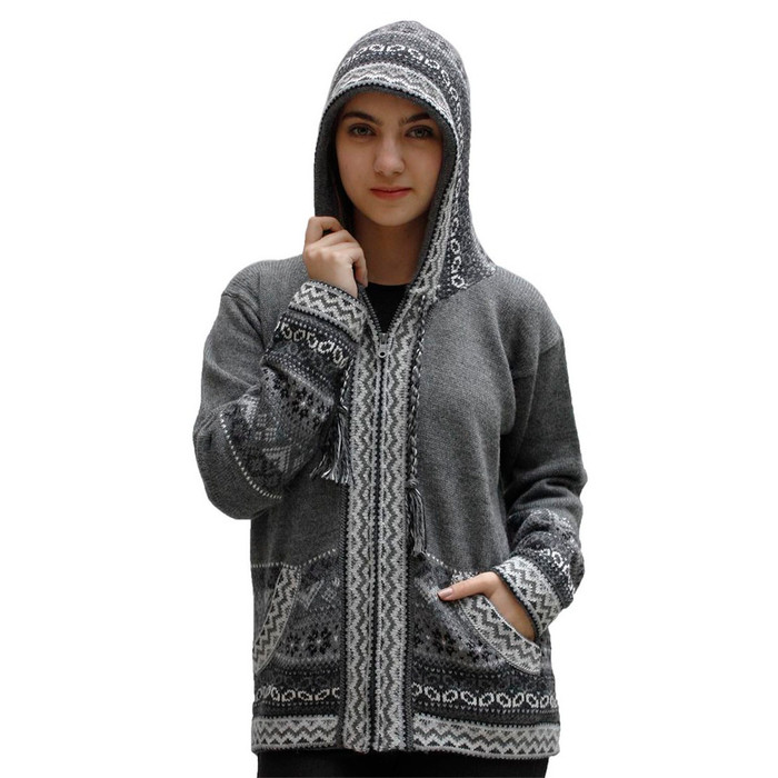 Womens Superfine Alpaca Wool Hooded Intarsia Jacket