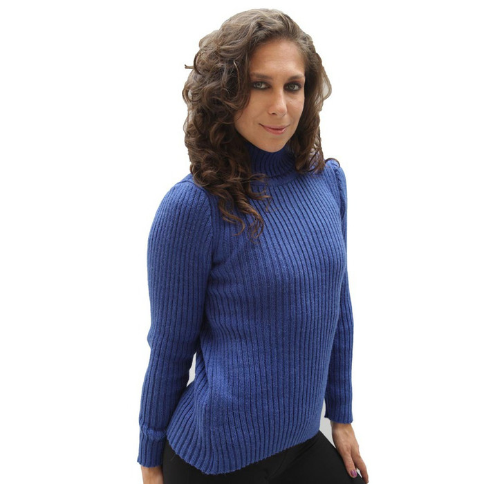 Women's Soft Alpaca Wool Knitted Turtleneck Ribbed Sweater