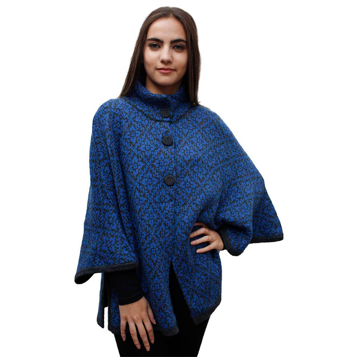 Womens Alpaca Wool Poncho Cape with Sleeves One Size