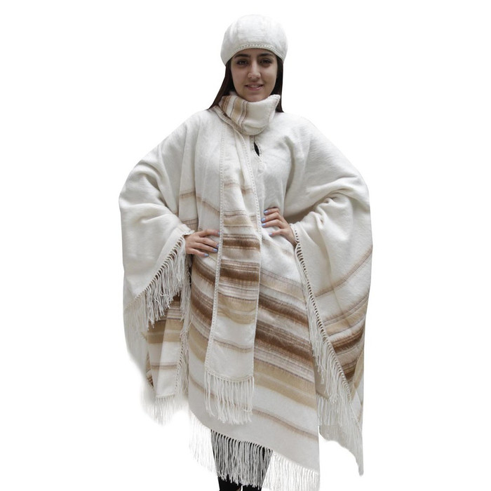 Fringed Alpaca Wool Woven Poncho with Matching Scarf & Beret Ivory One SZ (32N-013-100A)