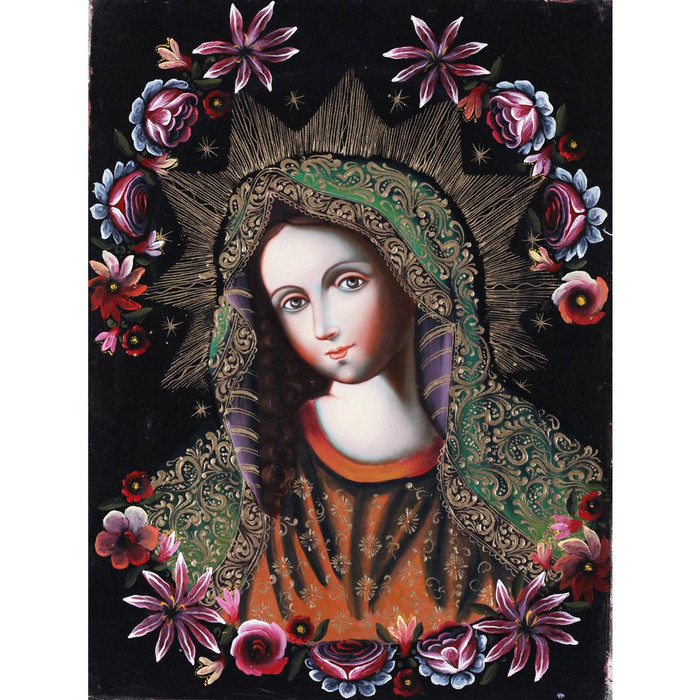 "Divine Virgin Mary Cuzco School Original Oil Painting On Canvas  16"" x 12"" (30-100-06666)"