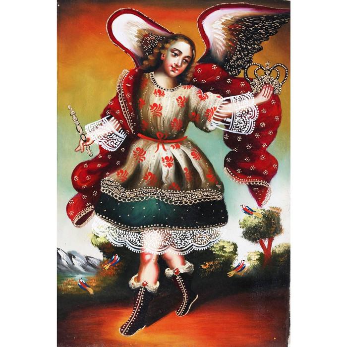 """Archangel St Gabriel  Original Cuzco Oil Painting On Canvas  12"""" x 8"""" (30-100-06717)"""