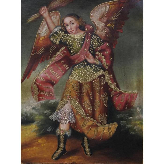 "Archangel Zadkiel Cuzco School Oil Painting On Canvas  16""x 12"" (30-100-07055)"