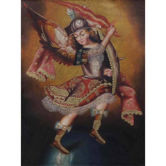 "Archangel Michael Cuzco School Oil Painting On Canvas  16""x 12"" (30-100-07058)"