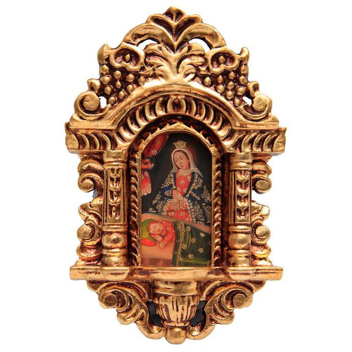 """Madonna & Child Cuzco School Art Handcarved Gilt Retablo 11"""" x 6.5"""" (71-021-04143)"""