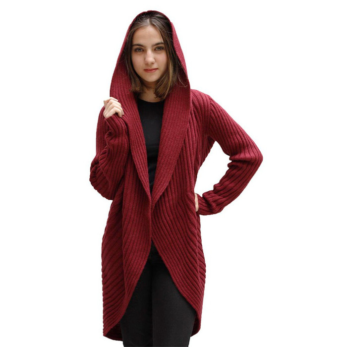 Alpaca Wool Coat Burgundy SZ M (11K-015-843M)