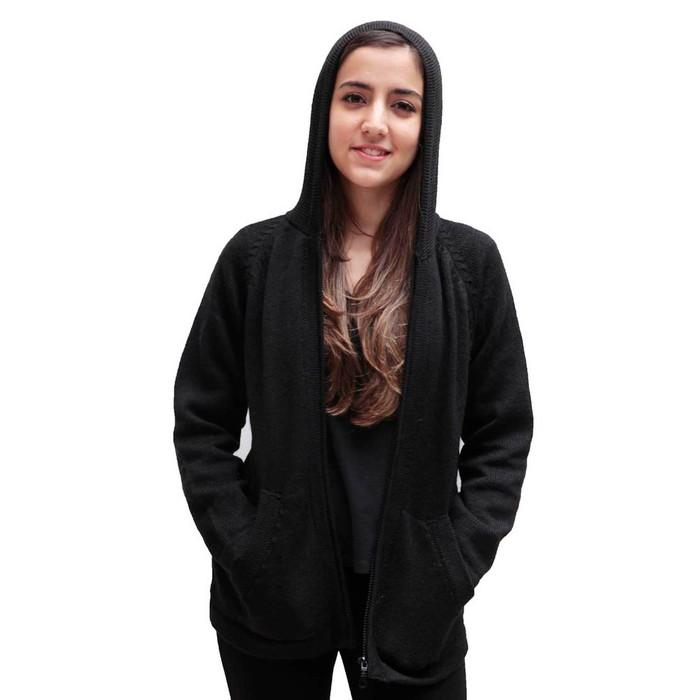 Hooded Alpaca Wool Jacket SZ XXL Black (14F-033-500XXL)