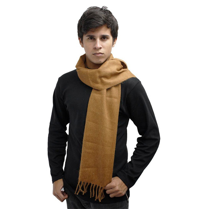 Woven 100% Alpaca Fringed Unisex Scarf Solid Camel