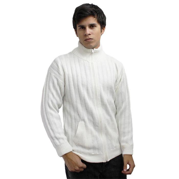 Mens Alpaca Wool Jacket Ivory Size L