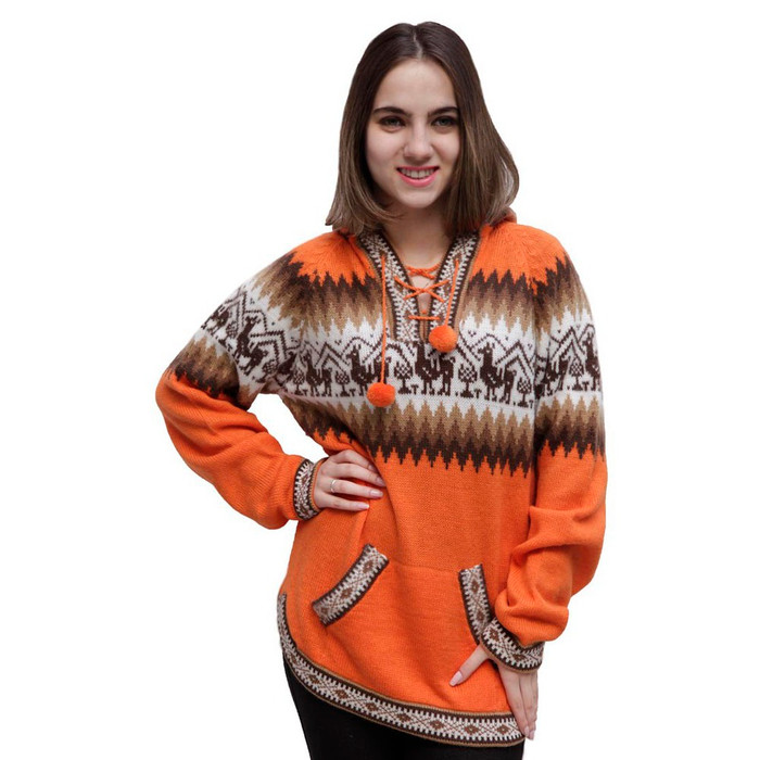 Alpaca Wool Knitted Unisex Hooded Sweater Llamas Design