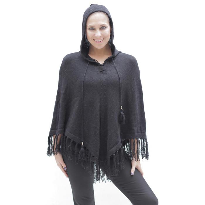 Womens Hooded Superfine Alpaca Wool Poncho Black One Sz (32K-033-500)