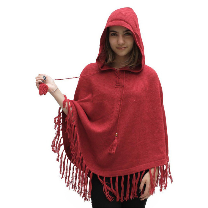 Womens Hooded Superfine Alpaca Wool Poncho Red One Size (32K-035-842)