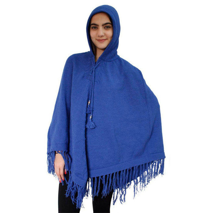 Hooded Alpaca Wool Womens Knit Long Poncho One Size Blue