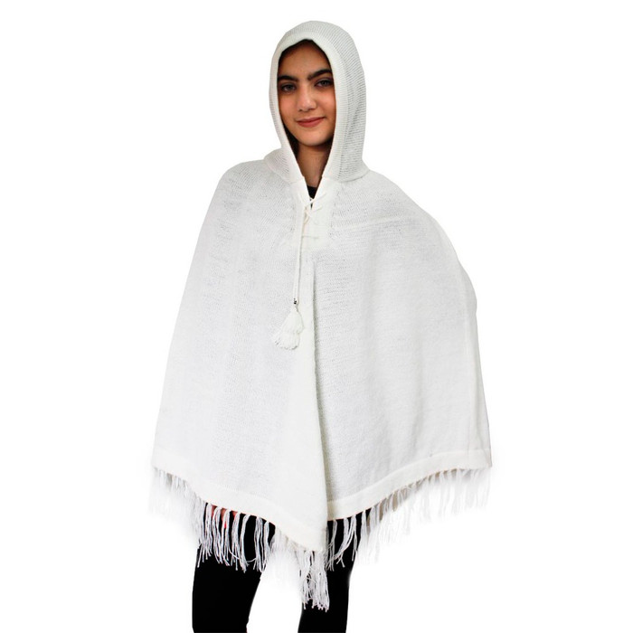 Hooded Alpaca Wool Womens Knit Long Poncho One Size Ivory