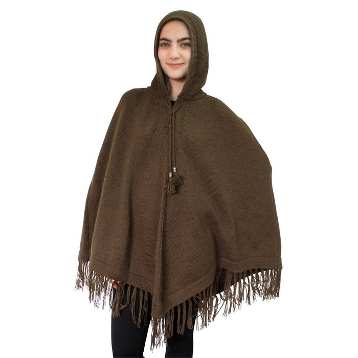 Hooded Alpaca Wool Womens Knit Long Poncho One Size Brown