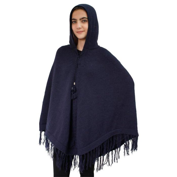 Hooded Alpaca Wool Womens Knit Long Poncho One Size Navy Blue (32T-019-838)
