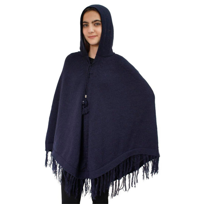 Hooded Alpaca Wool Womens Knit Long Poncho One Size Navy Blue