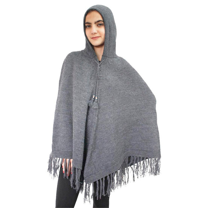 Hooded Alpaca Wool Womens Knit Long Poncho One Size Soft Gray