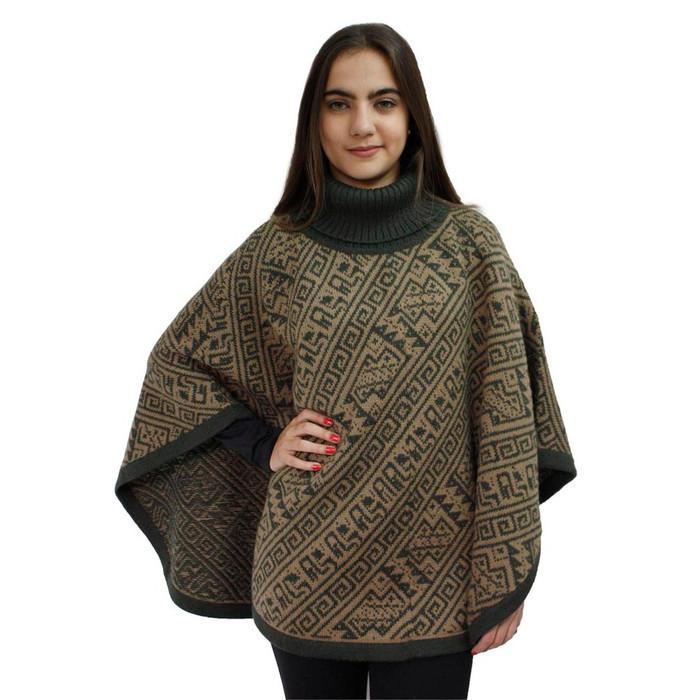 Alpaca Wool Turtleneck Knit Poncho One Size Olive & Sand (32U-027-030)