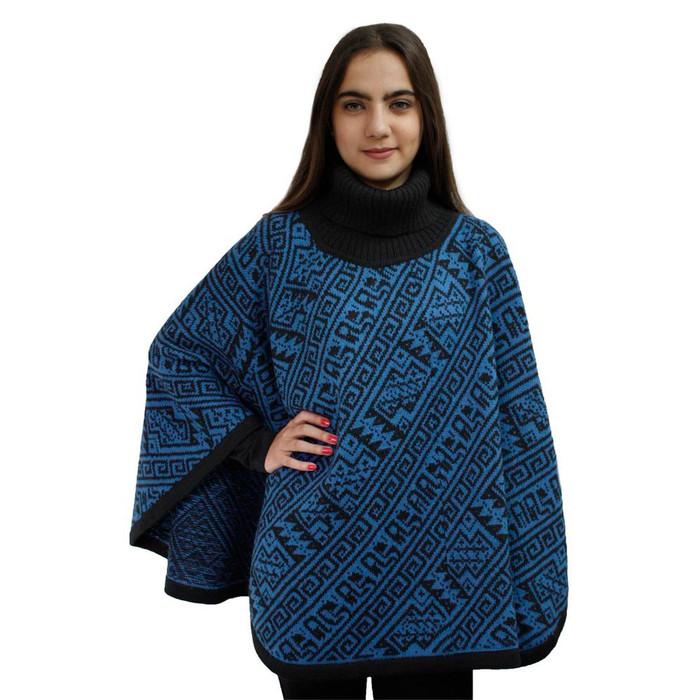 Alpaca Wool Turtleneck Knit Poncho One Size Black & Blue (32U-033-005)