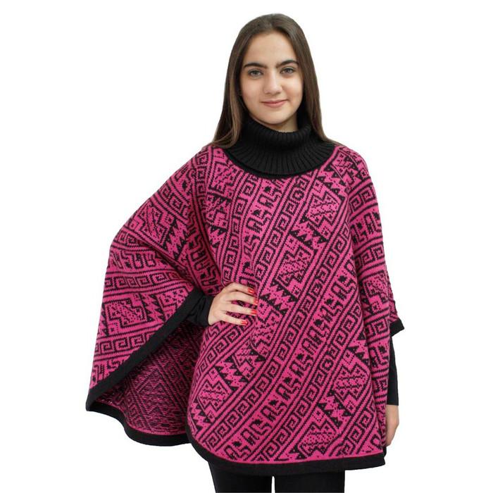 Alpaca Wool Turtleneck Knit Poncho One Size Black & Strawberry Rose (32U-033-074)