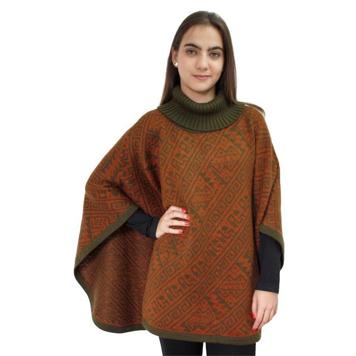 Alpaca Wool Turtleneck Knit Poncho One Size Copper & Leaf Green (32U-064-016)