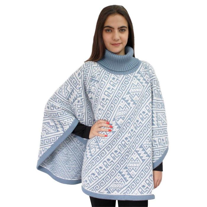 Alpaca Wool Turtleneck Knit Poncho One Size Soft Blue & Ivory (32U-092-013)