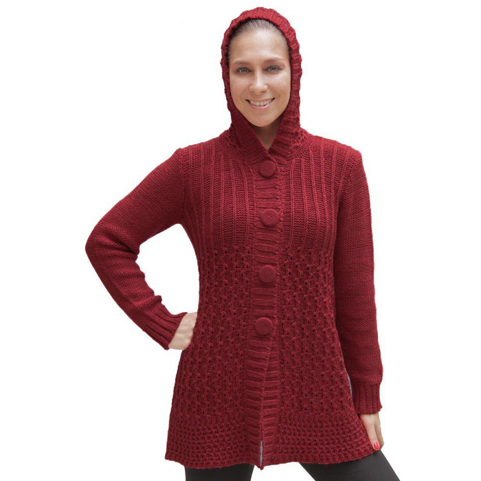 Womens Superfine Alpaca Wool Hooded Coat Size L Red