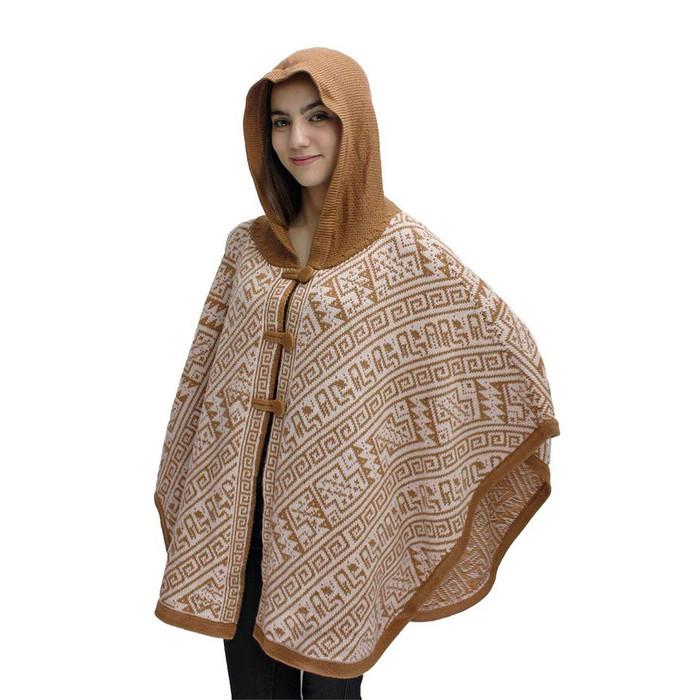 Hooded Alpaca Wool Womens Knit Cape One Size Camel & Beige
