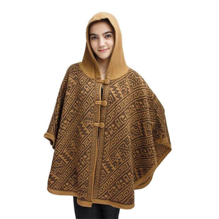 Hooded Alpaca Wool Womens Knit Cape One Size Camel & Brown
